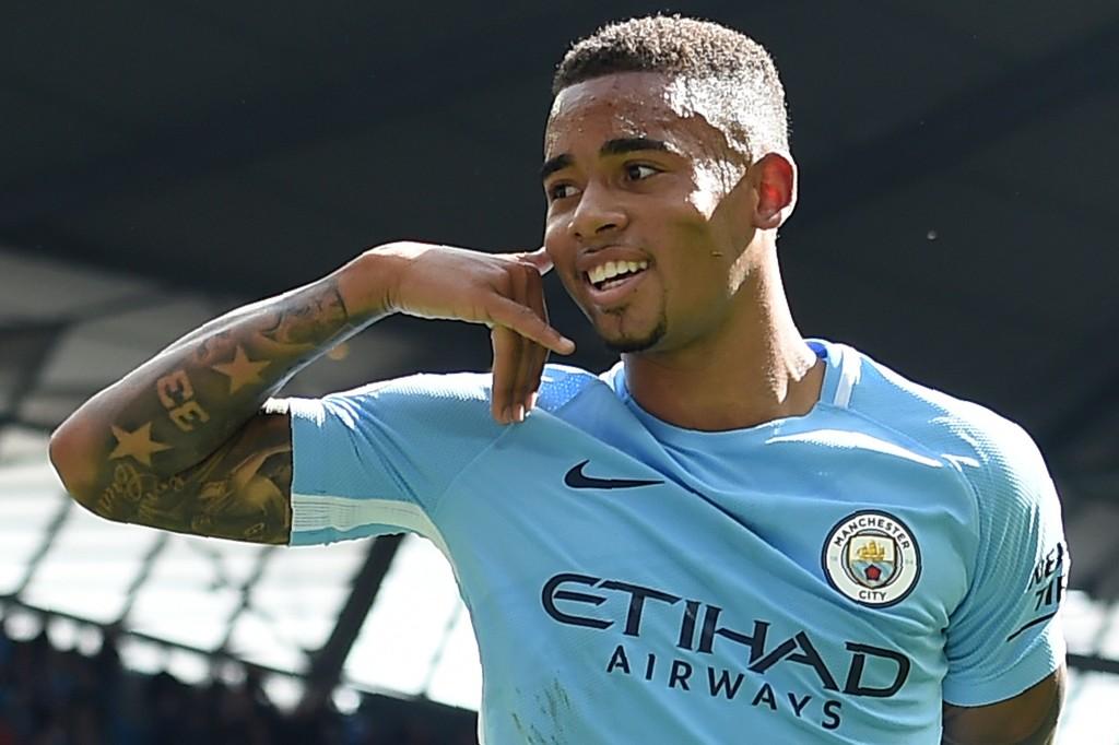 Gabriel Jesus celebrates for City earlier this season