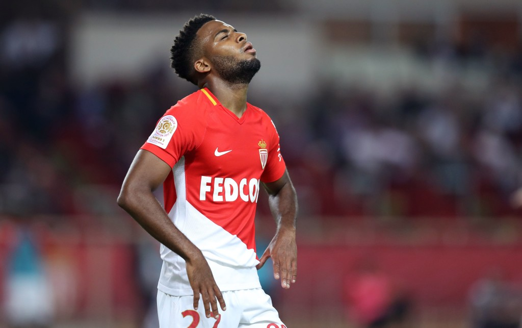 """Monaco's French midfielder Thomas Lemar reacts during the French L1 football match Monaco vs Montpellier on september 29, 2017 at the """"Louis II"""" Stadium in Monaco. / AFP PHOTO / VALERY HACHE (Photo credit should read VALERY HACHE/AFP/Getty Images)"""