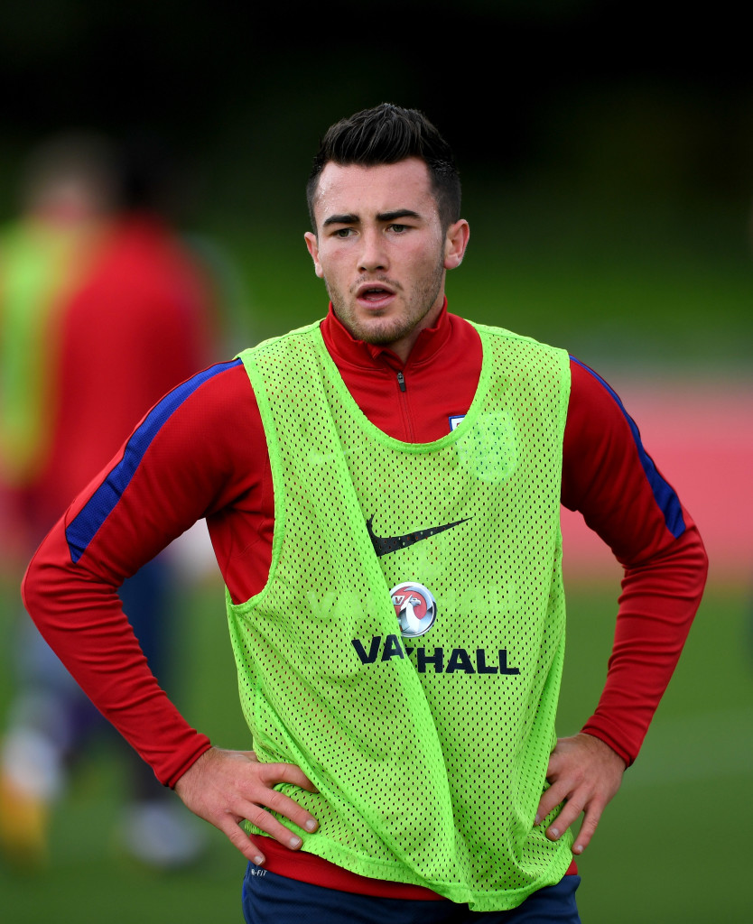 BURTON-UPON-TRENT, ENGLAND - OCTOBER 04: Jack Harrison of England looks on during a England U21 Training Session at St Georges Park on October 4, 2017 in Burton-upon-Trent, England. (Photo by Gareth Copley/Getty Images)