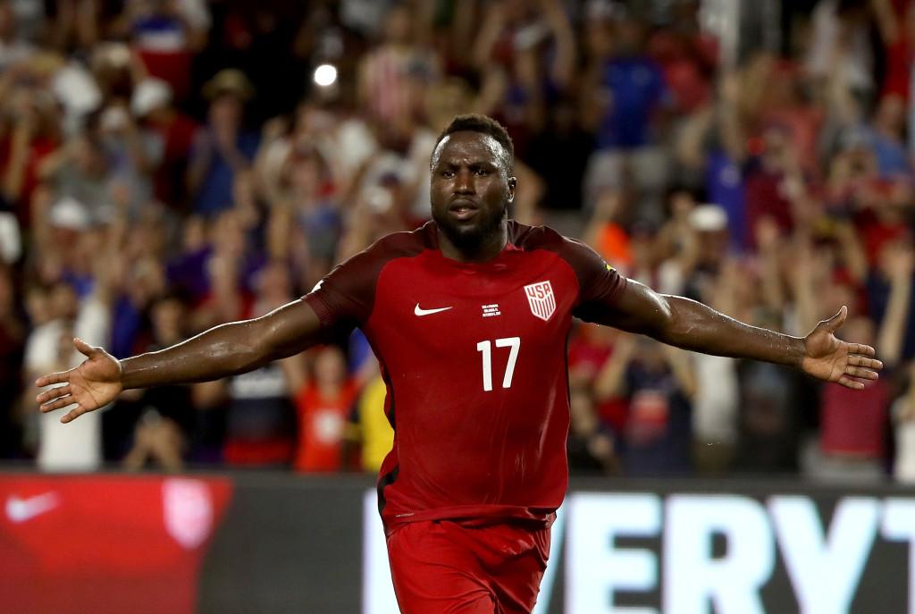 Jozy Altidore celebrates scoring against Panama