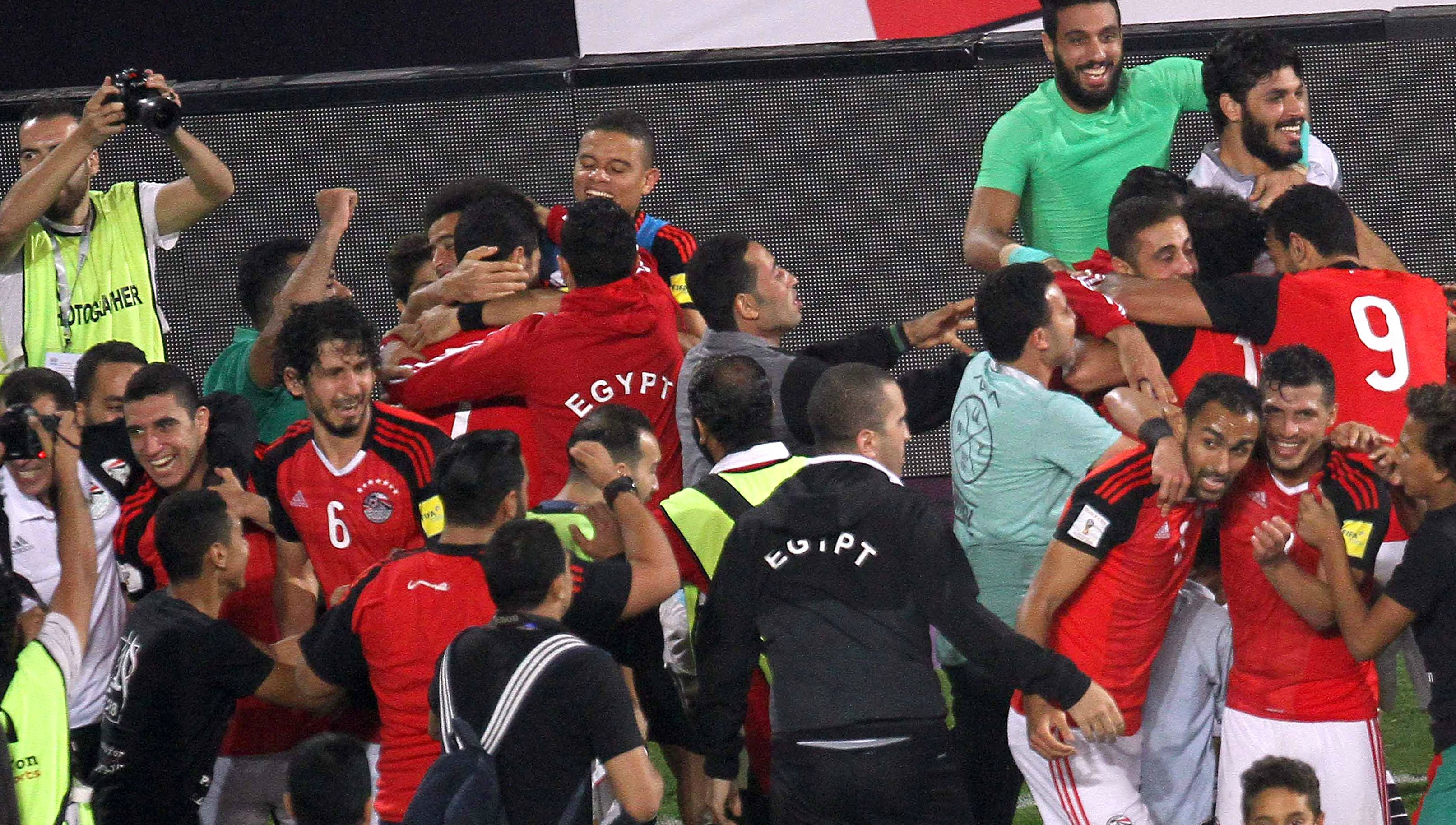 Egypt players celebrate after victory over the Congo