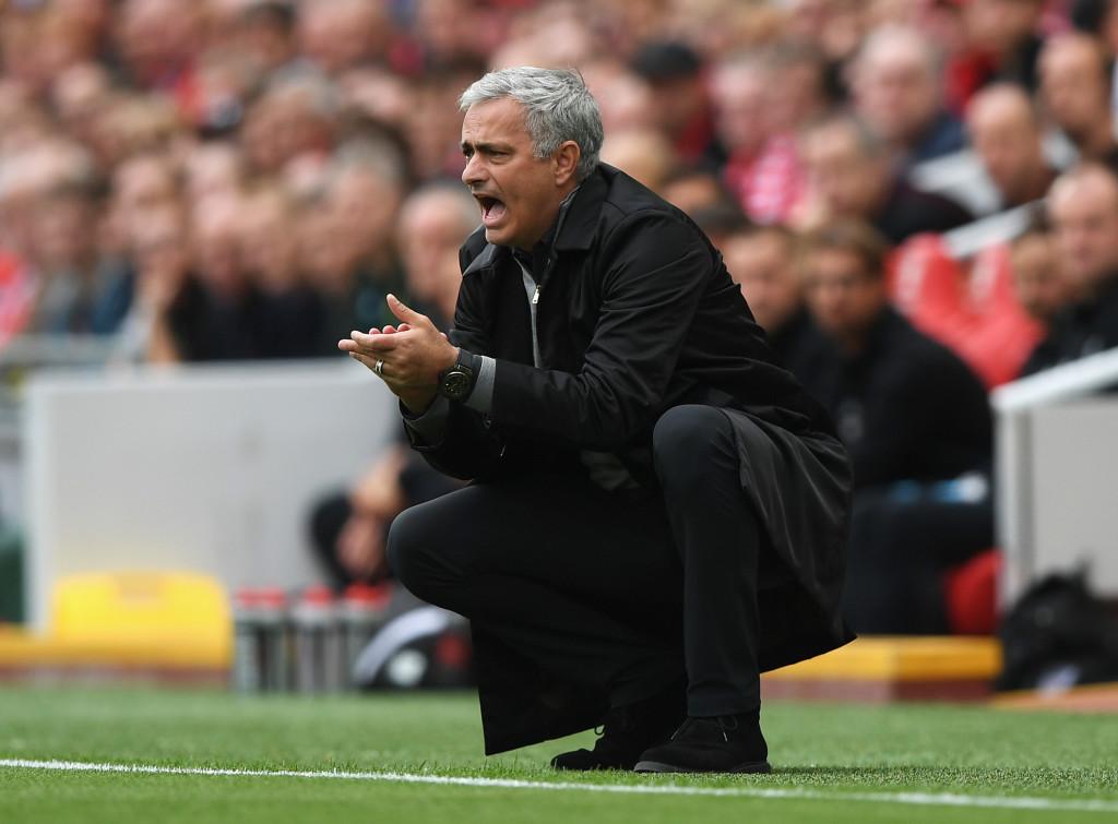 Jose Mourinho reacts on the touchline