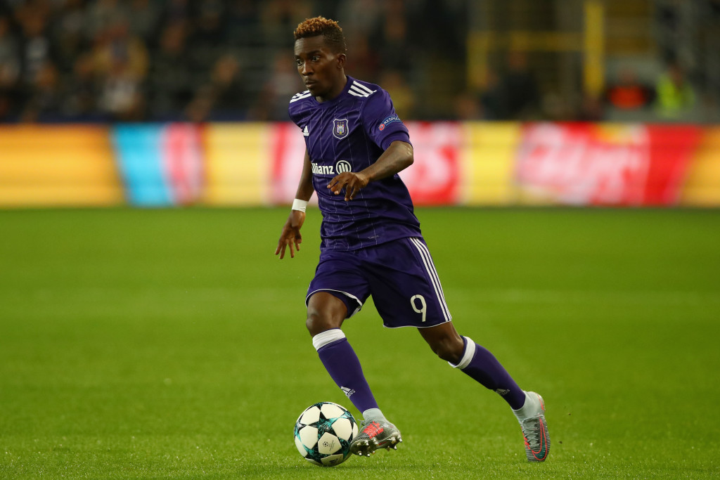 BRUSSELS, BELGIUM - OCTOBER 18: Henry Onyekuru of RSC Anderlecht in action during the UEFA Champions League group B match between RSC Anderlecht and Paris Saint-Germain at Constant Vanden Stock Stadium on October 18, 2017 in Brussels, Belgium. (Photo by Dean Mouhtaropoulos/Getty Images)