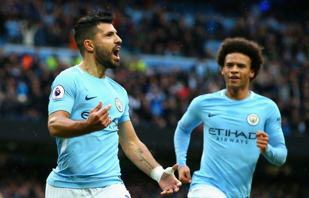 Aguero kept up his goal-scoring run to tie City's record for most goals.