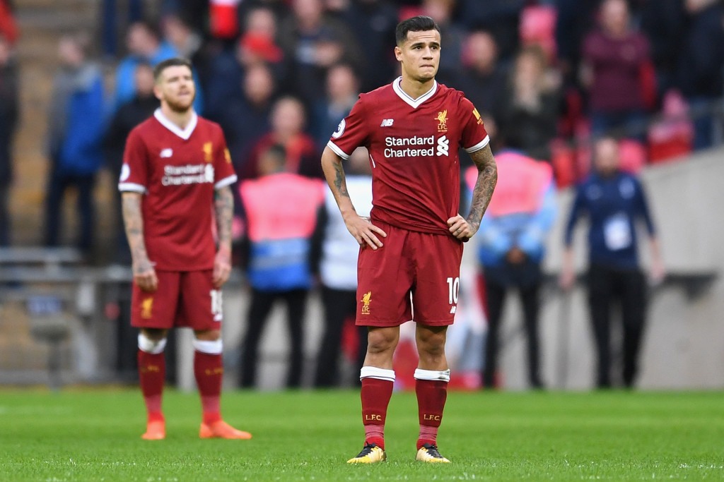 Philippe Coutinho looks on dejected