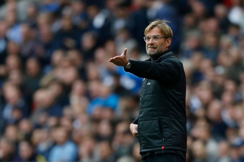 Klopp gestures during the hammering from Spurs