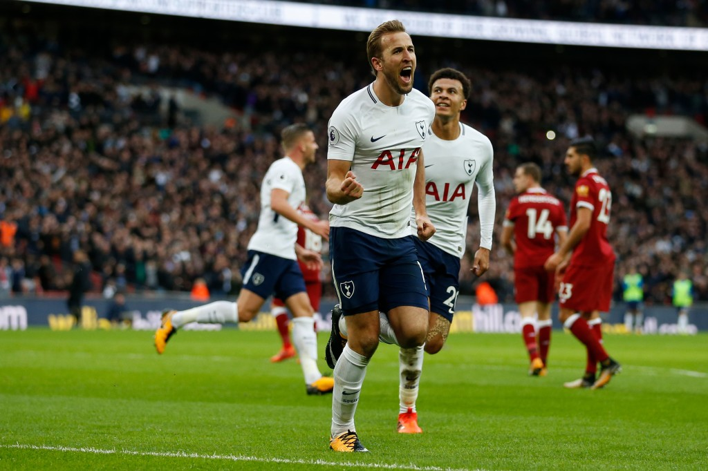 Harry Kane celebrates his second goal against Liverpool