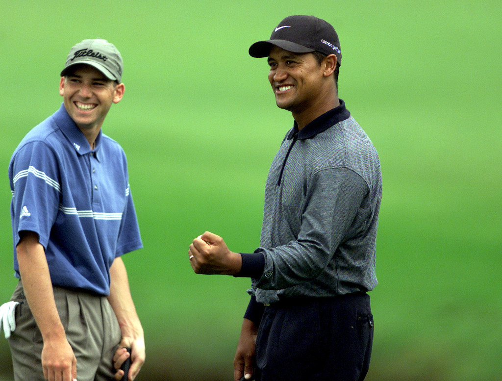 Campbell and Garcia at the Greg Norman Holden International in 2001.