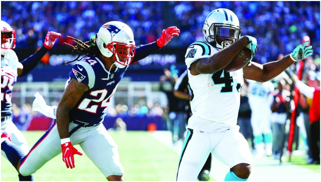 Burned: Patriots cornerback Stephon Gilmore gets beaten in coverage. Picture: Getty Images.