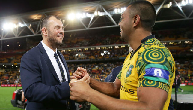 Michael Cheika (L) and Kurtley Beale