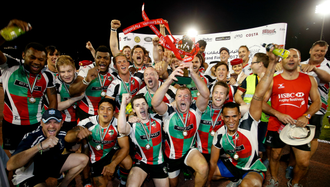 Bolger (c) lifting the UAE Premiership in April to cement the quintuple for Quins