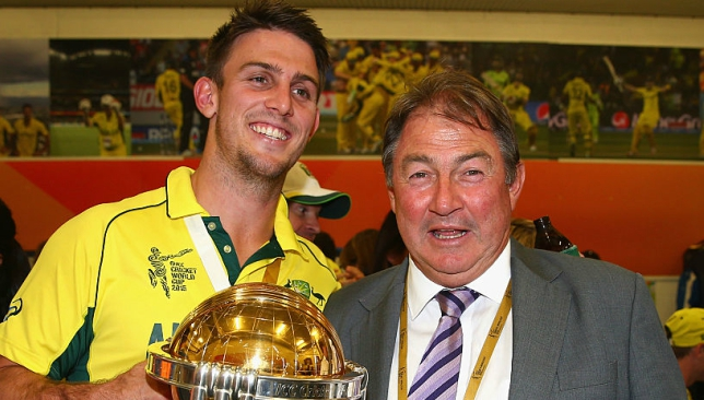 Mitch poses with his father Goeff after winning the 2015 World Cup.