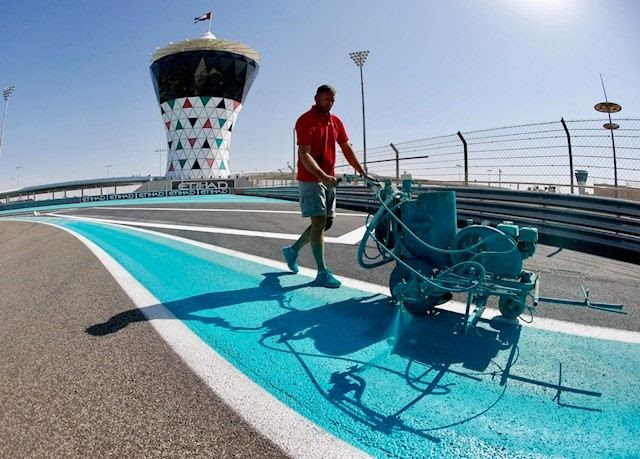 The Yas Marina Circuit's famous 'Yas blue'.