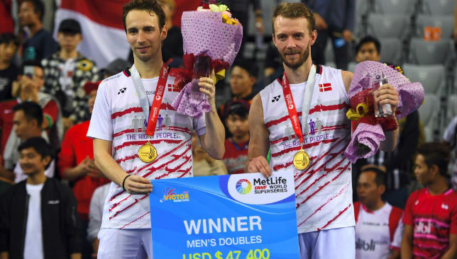 Victorious at the Korea Open: Denmark's Mathias Boe (L) and Carsten Mogensen (R)