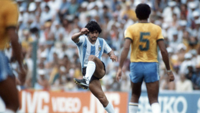 Argentina vs Brazil: Diego Maradona takes a shot during the game.