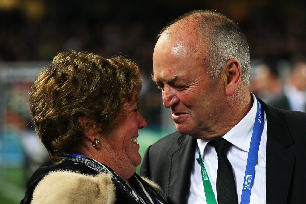 AUCKLAND, NEW ZEALAND - OCTOBER 23: Graham Henry, coach of the All Blacks and his wife Raewyn Henry smile after the 2011 IRB Rugby World Cup Final match between France and New Zealand at Eden Park on October 23, 2011 in Auckland, New Zealand. (Photo by Cameron Spencer/Getty Images)