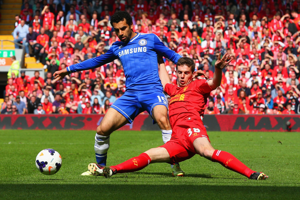 Salah in action against Liverpool in 2014