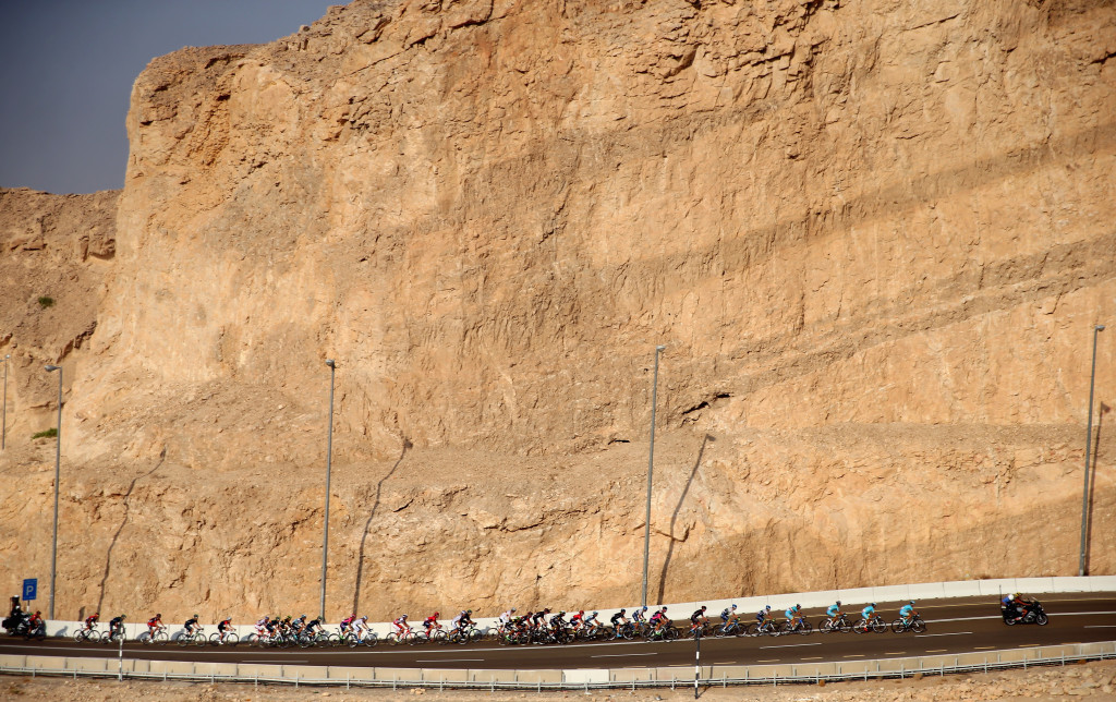 ABU DHABI, UNITED ARAB EMIRATES - OCTOBER 10: The riders make their way up the climb of Jebel Hafeet during stage three of the 2015 Abu Dhabi Tour from Al Qattara Souq to Jebel Hafeet on October 10, 2015 in Abu Dhabi, United Arab Emirates. (Photo by Francois Nel/Getty Images)