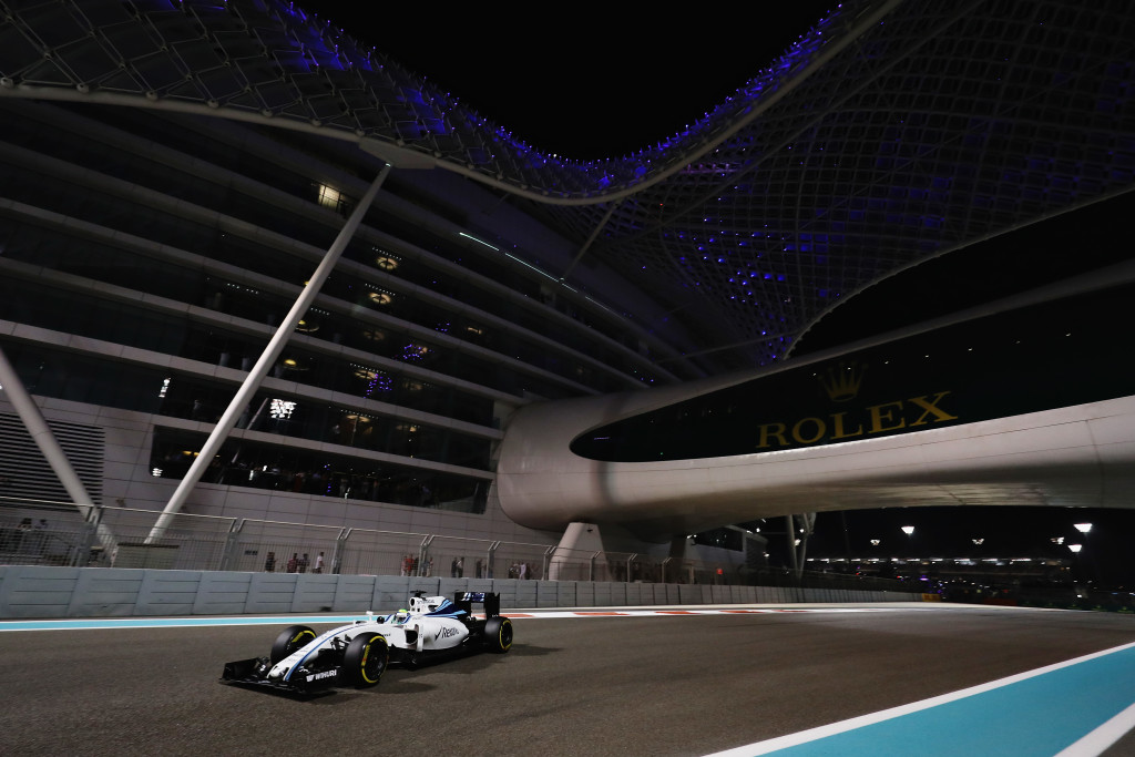 ABU DHABI, UNITED ARAB EMIRATES - NOVEMBER 27: Felipe Massa of Brazil driving the (19) Williams Martini Racing Williams FW38 Mercedes PU106C Hybrid turbo on track during the Abu Dhabi Formula One Grand Prix at Yas Marina Circuit on November 27, 2016 in Abu Dhabi, United Arab Emirates. (Photo by Mark Thompson/Getty Images)