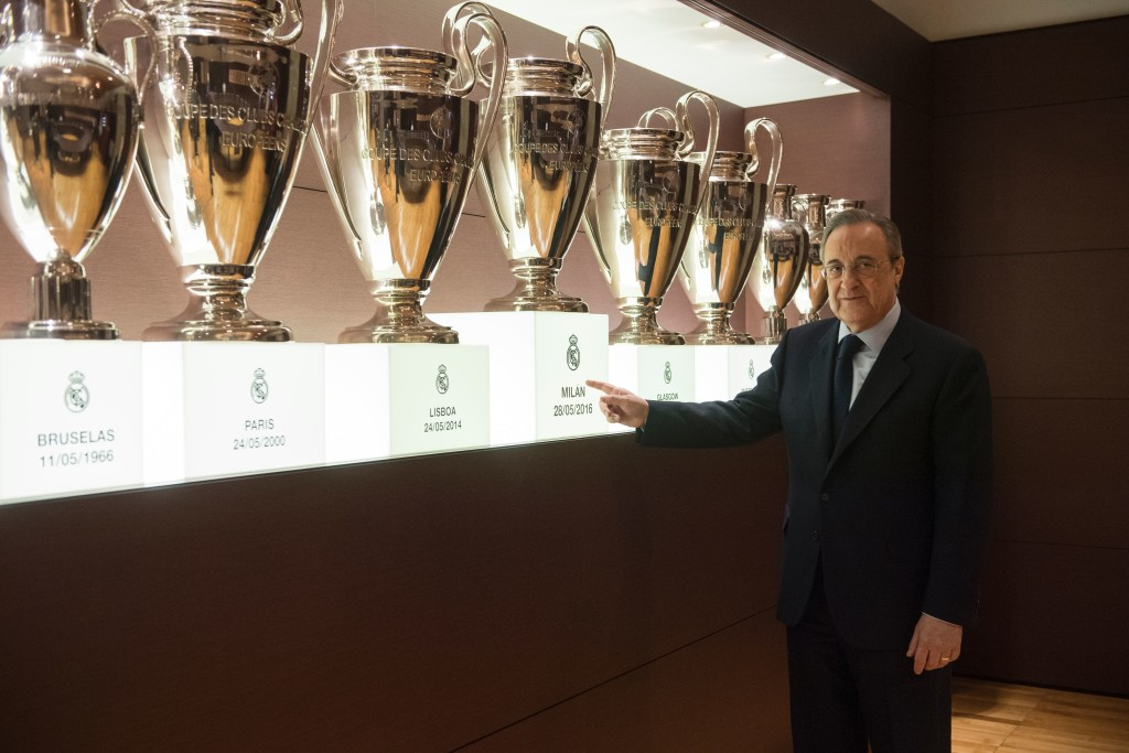 "Real Madrid's President Florentino Perez poses during an AFP interview in the trophy room of the Santiago Bernabeu stadium in Madrid, on November 27, 2016. Zinedine Zidane's smooth transition from Real Madrid legend as a player to Champions League winning coach has caught many by surprise, but Real president Florentino Perez believes success was guaranteed by the Frenchman's ""love story"" with the Spanish giants. / AFP / JAVIER SORIANO (Photo credit should read JAVIER SORIANO/AFP/Getty Images)"