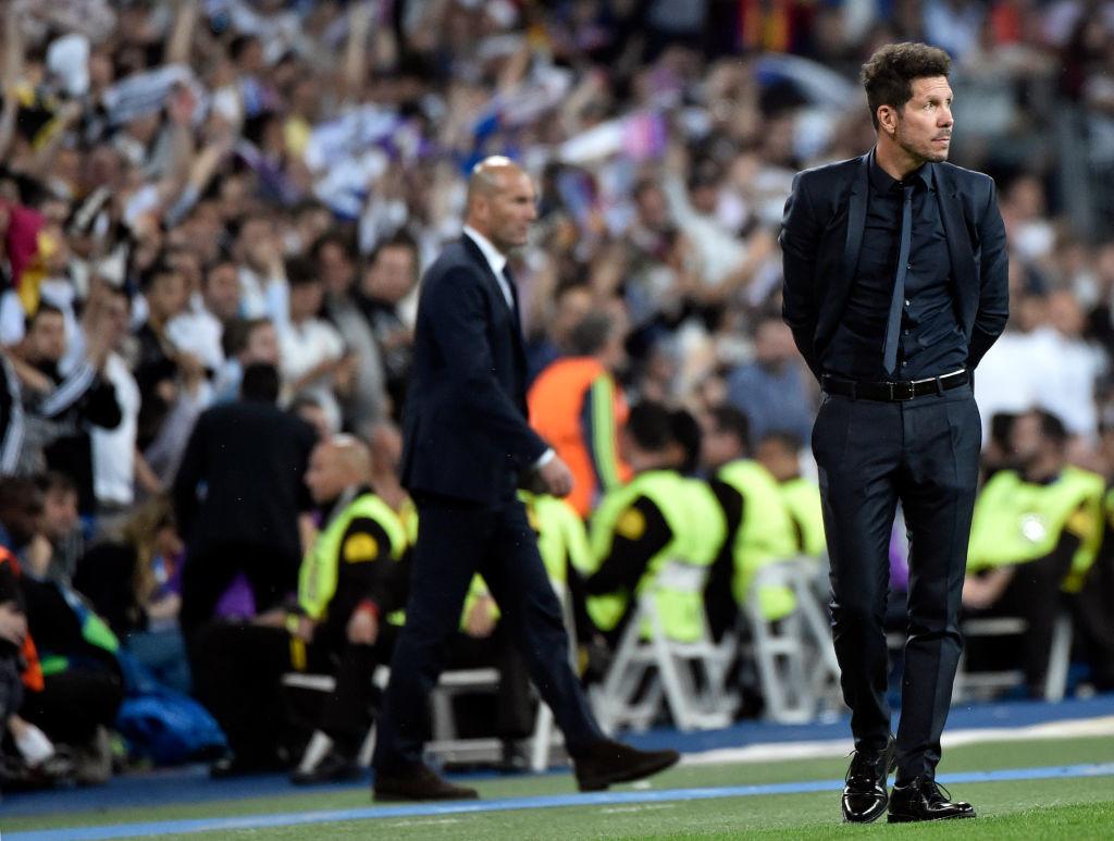 Diego Simeone (R) and Zinedine Zidane