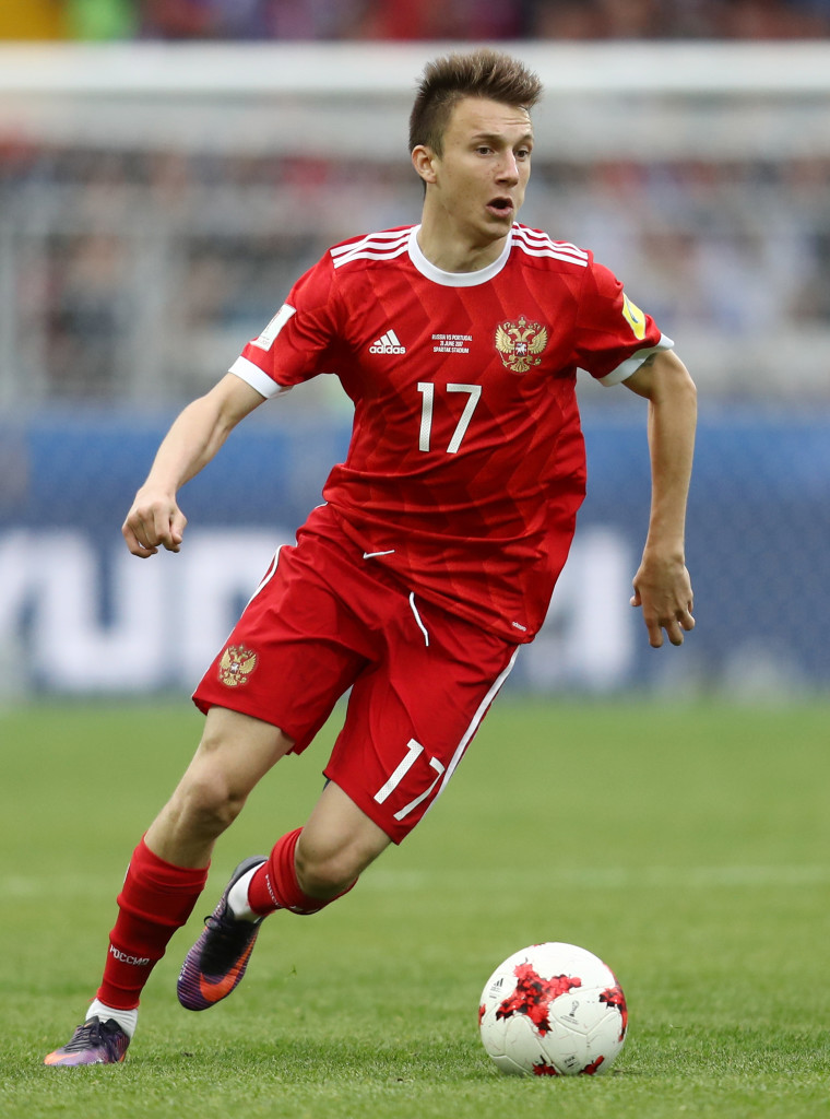 MOSCOW, RUSSIA - JUNE 21: Aleksandr Golovin of Russia in action during the FIFA Confederations Cup Russia 2017 Group A match between Russia and Portugal at Spartak Stadium on June 21, 2017 in Moscow, Russia. (Photo by Francois Nel/Getty Images)