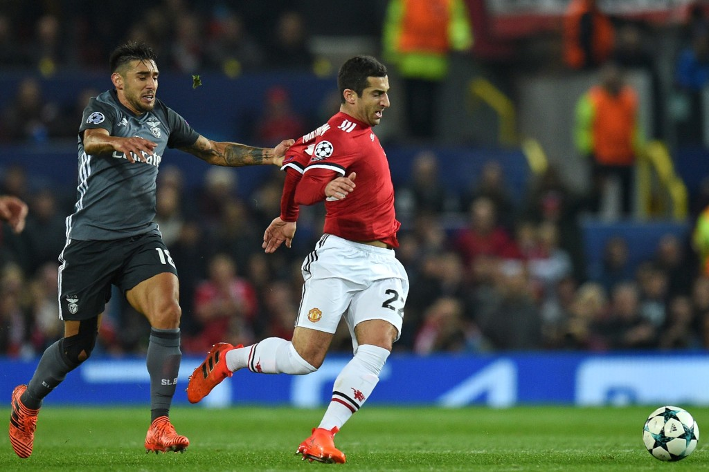 Henrikh Mkhitaryan in action against Benfica has struggled for form