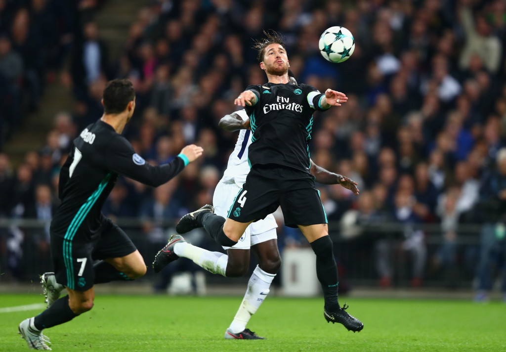 Sergio Ramos makes an interception in the loss to Spurs