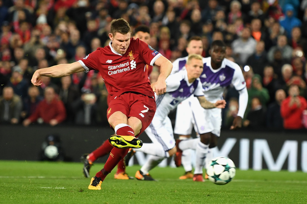 Milner saw his penalty tipped onto the post