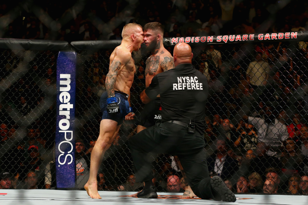 Dillashaw gets in Garbrandt's face after victory