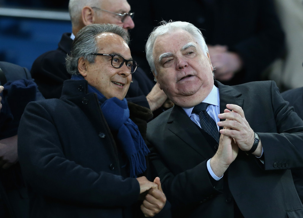 LIVERPOOL, ENGLAND - NOVEMBER 05: Farhad Moshiri, Everton owner (L) and Bill Kenwright, Everton chairman (R) are seen prior to the Premier League match between Everton and Watford at Goodison Park on November 5, 2017 in Liverpool, England. (Photo by Jan Kruger/Getty Images)
