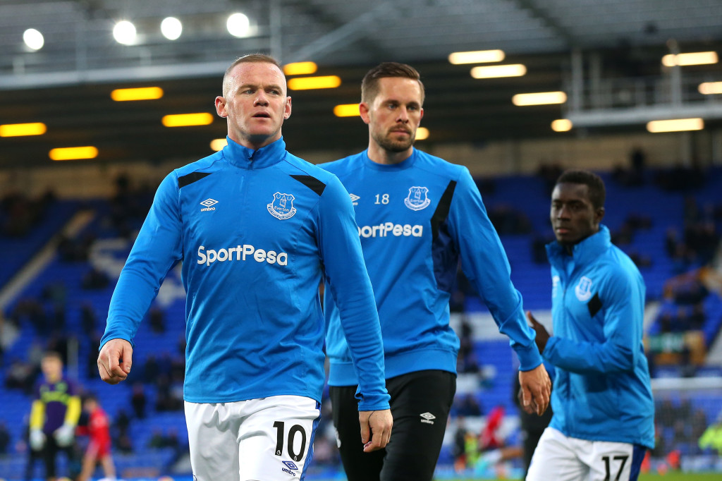 LIVERPOOL, ENGLAND - NOVEMBER 05: Wayne Rooney of Everton warms up prior to the Premier League match between Everton and Watford at Goodison Park on November 5, 2017 in Liverpool, England. (Photo by Alex Livesey/Getty Images)