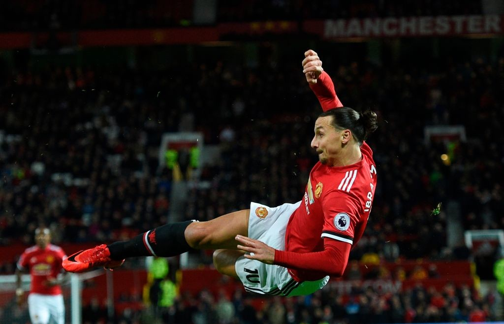 Zlatan Ibrahimovic attempts a bicycle kick