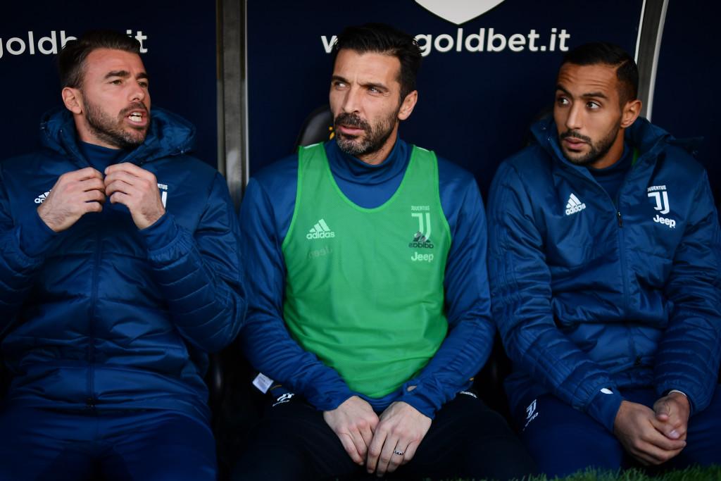 Andrea Barzagli (L), Gianluigi Buffon and Medhi Benatia