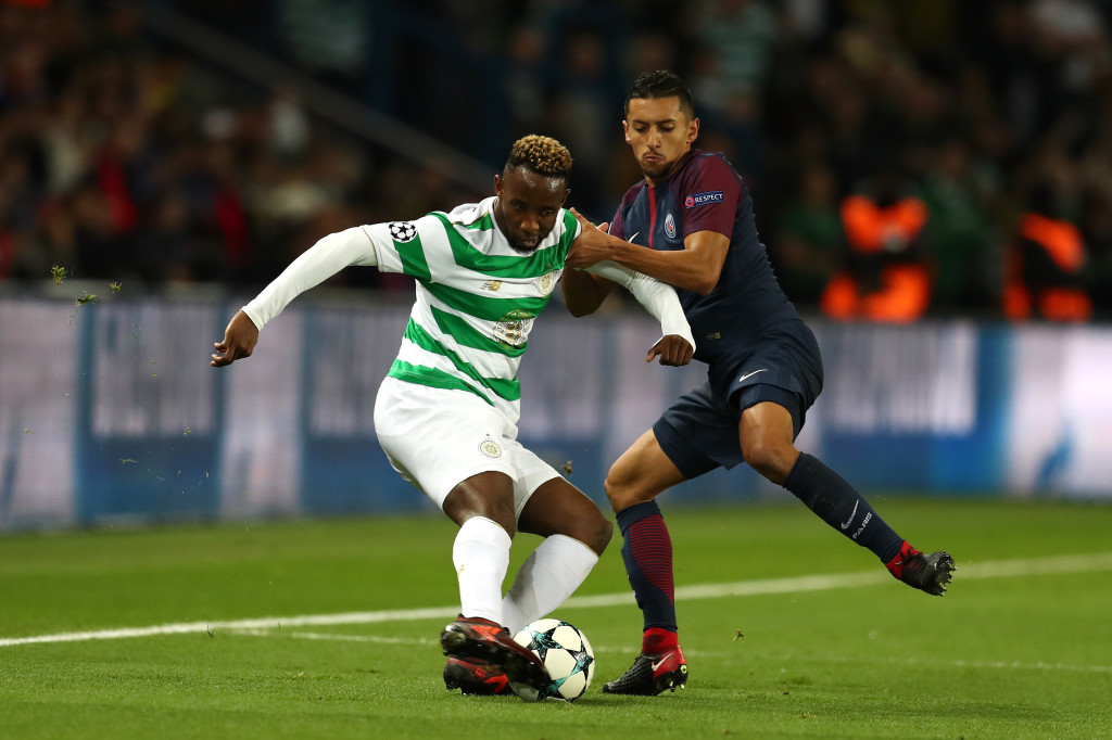 Dembele in action against PSG after Celtic were battered by the French giants