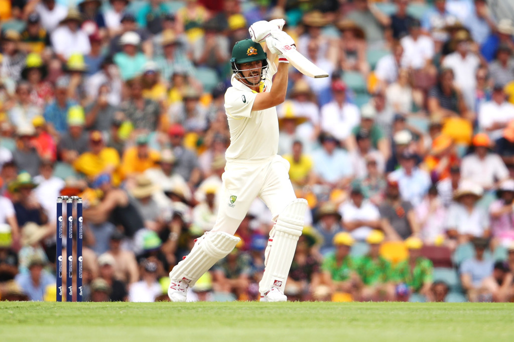 BRISBANE, AUSTRALIA - NOVEMBER 25: Pat Cummins of Australia bats during day three of the First Test Match of the 2017/18 Ashes Series between Australia and England at The Gabba on November 25, 2017 in Brisbane, Australia. (Photo by Mark Kolbe/Getty Images)