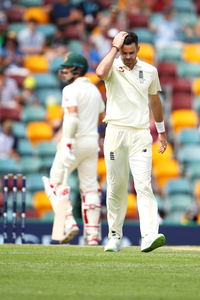 BRISBANE, AUSTRALIA - NOVEMBER 25: James Anderson of England shows his frustration during day three of the First Test Match of the 2017/18 Ashes Series between Australia and England at The Gabba on November 25, 2017 in Brisbane, Australia. (Photo by Mark Kolbe/Getty Images)