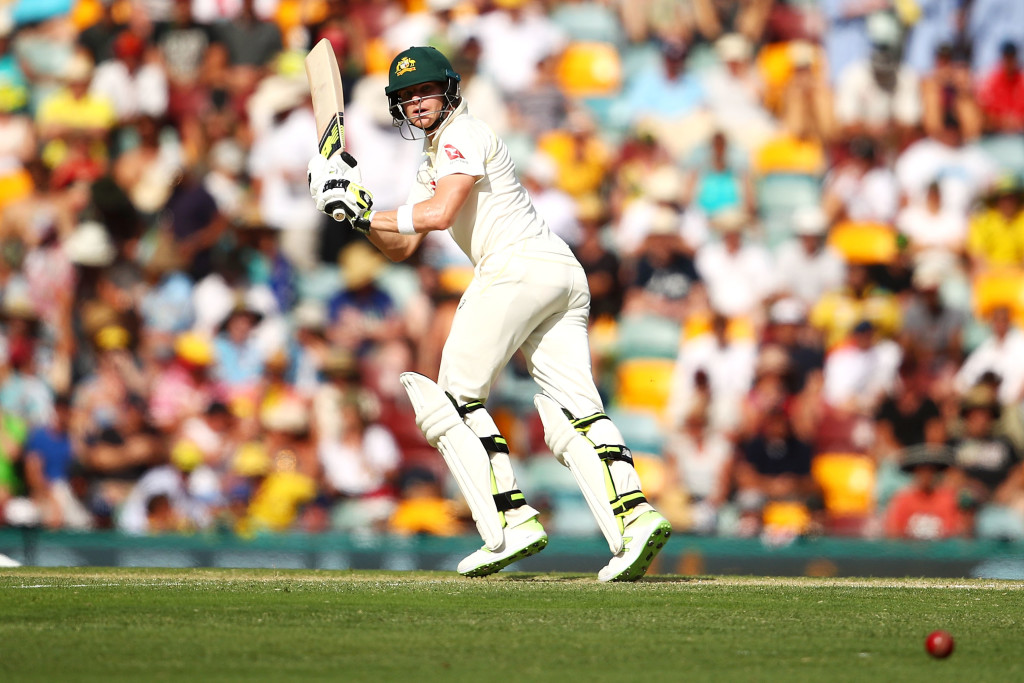 BRISBANE, AUSTRALIA - NOVEMBER 25: Steve Smith of Australia bats during day three of the First Test Match of the 2017/18 Ashes Series between Australia and England at The Gabba on November 25, 2017 in Brisbane, Australia. (Photo by Mark Kolbe/Getty Images)