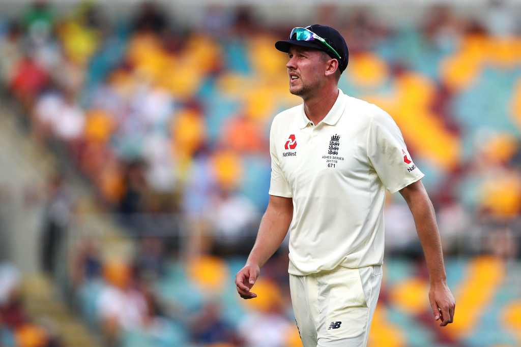 BRISBANE, AUSTRALIA - NOVEMBER 25: Jake Ball of England shows his frustration during day three of the First Test Match of the 2017/18 Ashes Series between Australia and England at The Gabba on November 25, 2017 in Brisbane, Australia. (Photo by Mark Kolbe/Getty Images)