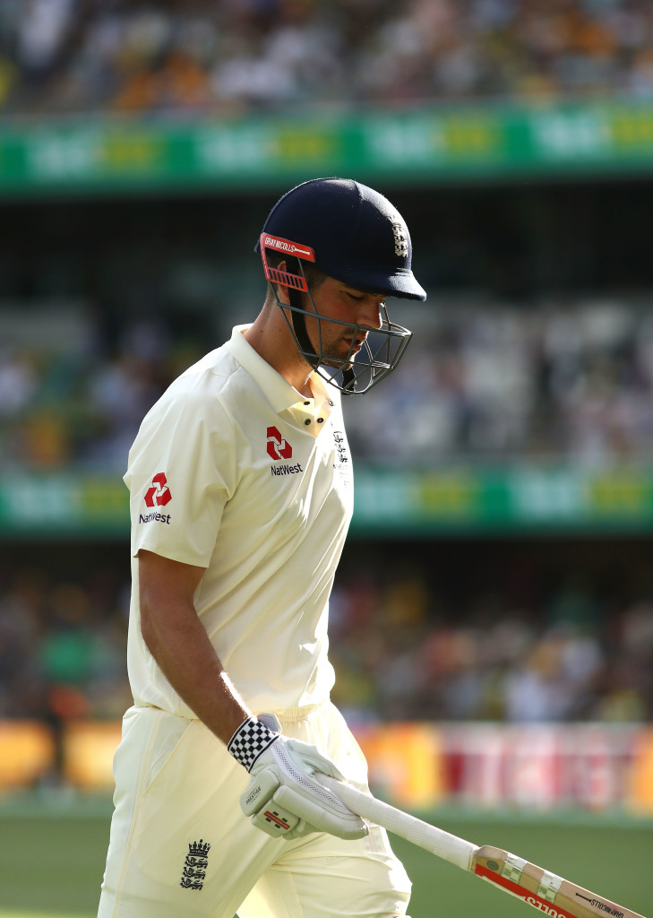 BRISBANE, AUSTRALIA - NOVEMBER 25: Alastair Cook of England looks dejected after being dismissed by Alastair Cook of England during day three of the First Test Match of the 2017/18 Ashes Series between Australia and England at The Gabba on November 25, 2017 in Brisbane, Australia. (Photo by Ryan Pierse/Getty Images)