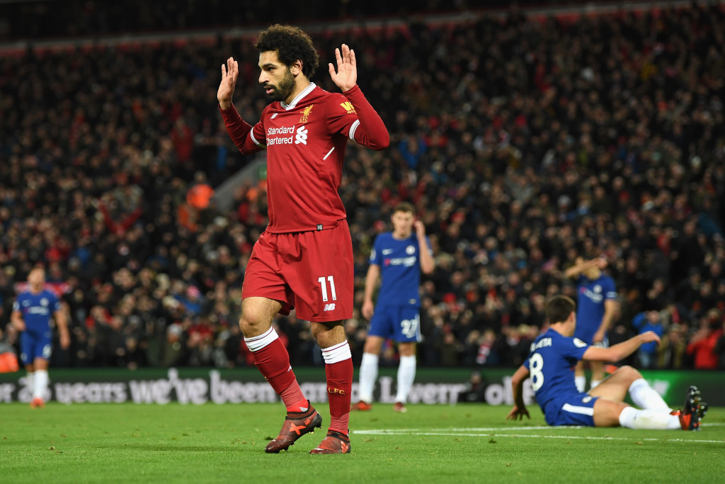 Salah after opening the scoring at Anfield