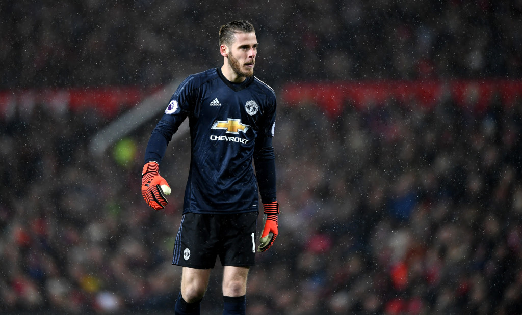 David de Gea of Manchester United during the Premier League match between Manchester United and Brighton and Hove Albion at Old Trafford on November 25, 2017 in Manchester, England. (Photo by Gareth Copley/Getty Images)