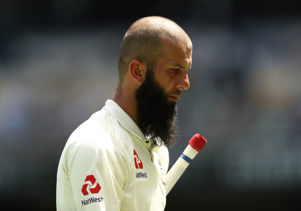 BRISBANE, AUSTRALIA - NOVEMBER 26: Moeen Ali of England looks dejected after being stumped by Tim Paine of Australia off the bowling of Nathan Lyon of Australia during day four of the First Test Match of the 2017/18 Ashes Series between Australia and England at The Gabba on November 26, 2017 in Brisbane, Australia. (Photo by Ryan Pierse/Getty Images)