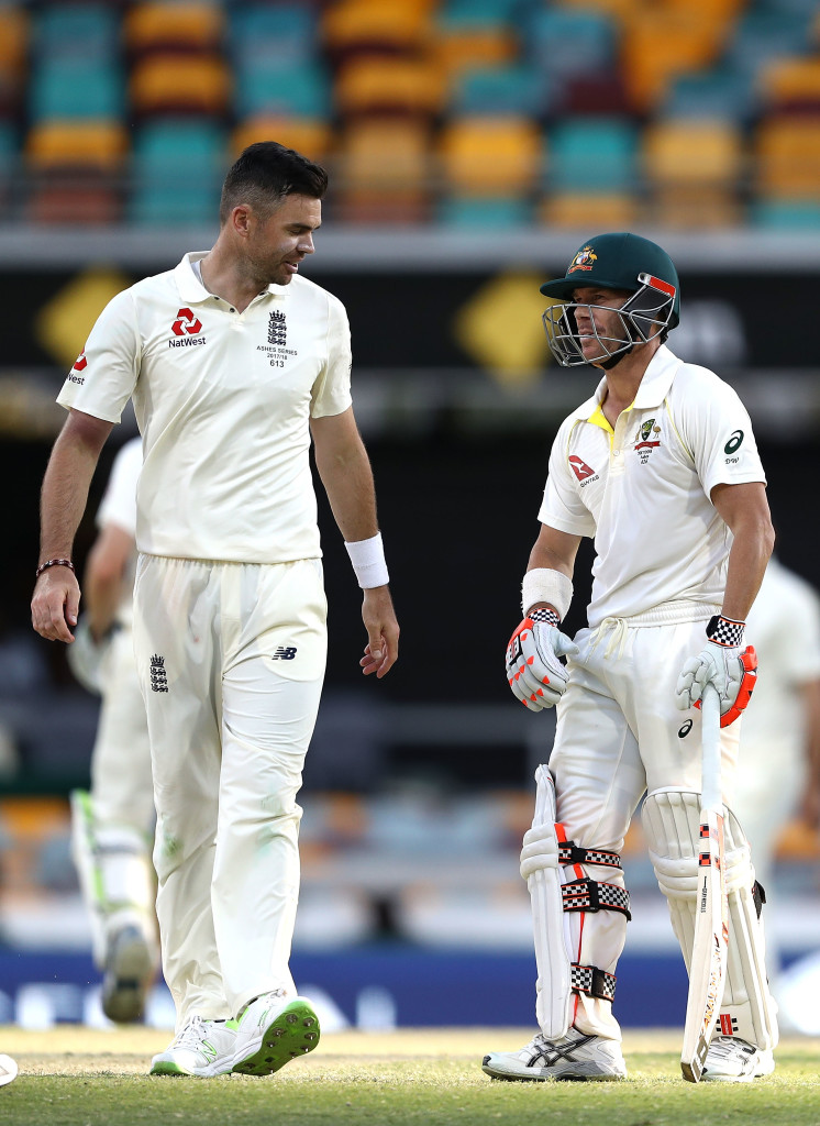 BRISBANE, AUSTRALIA - NOVEMBER 26: James Anderson of England and David Warner of Australia have words during day four of the First Test Match of the 2017/18 Ashes Series between Australia and England at The Gabba on November 26, 2017 in Brisbane, Australia. (Photo by Ryan Pierse/Getty Images)