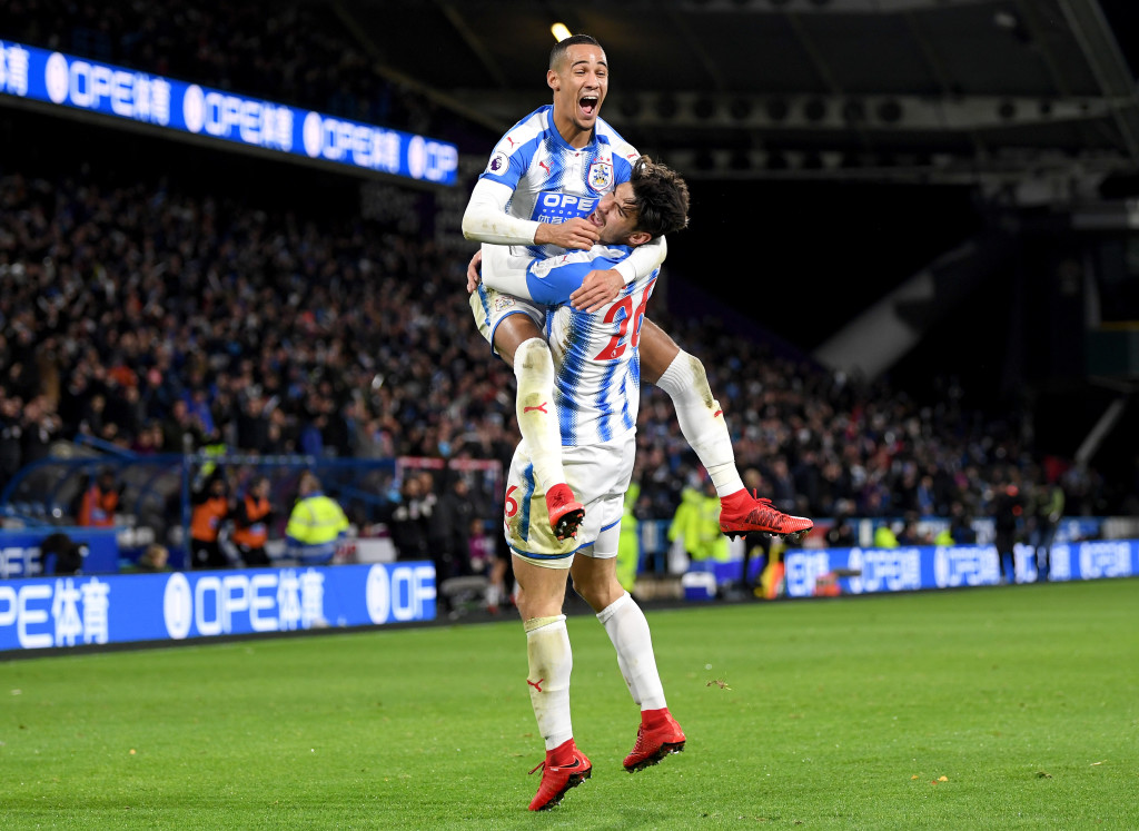 Tom Ince and Christopher Schindler celebrate their opener