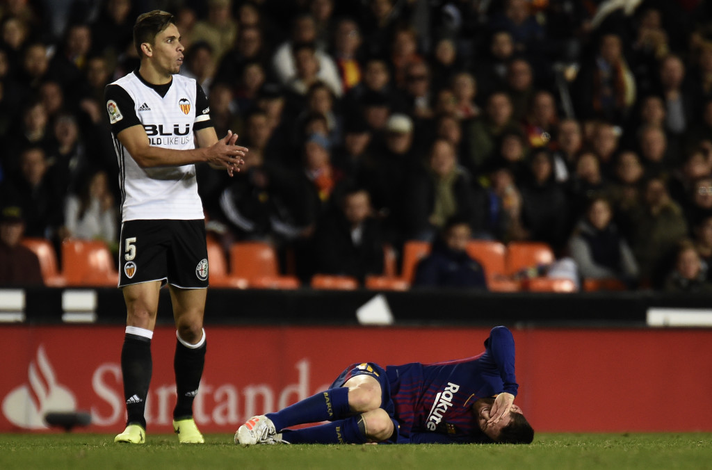 Gabriel was booked for this tackle on Messi