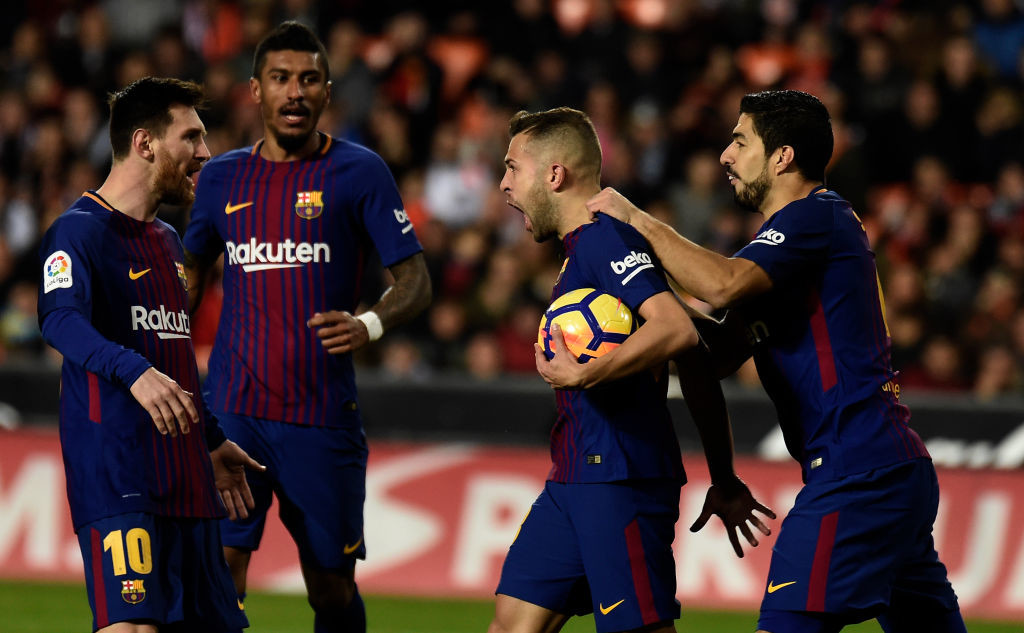 Alba made the perfect run to Messi's lofted ball.