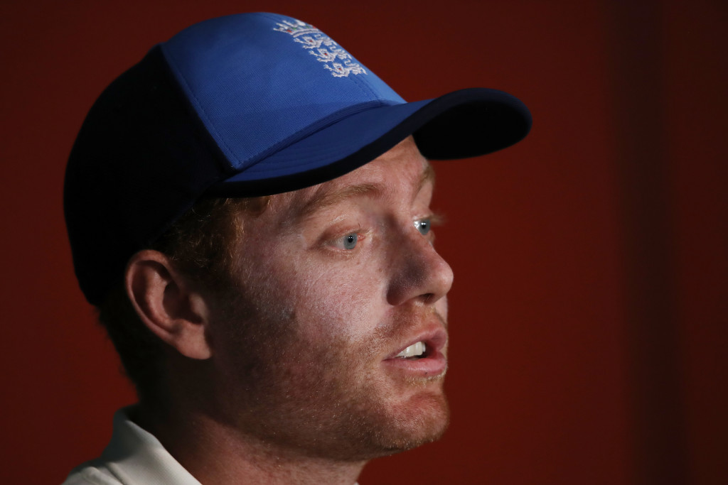 BRISBANE, AUSTRALIA - NOVEMBER 27: Jonny Bairstow of England talks to media during a press conference following play during day five of the First Test Match of the 2017/18 Ashes Series between Australia and England at The Gabba on November 27, 2017 in Brisbane, Australia. (Photo by Cameron Spencer/Getty Images)