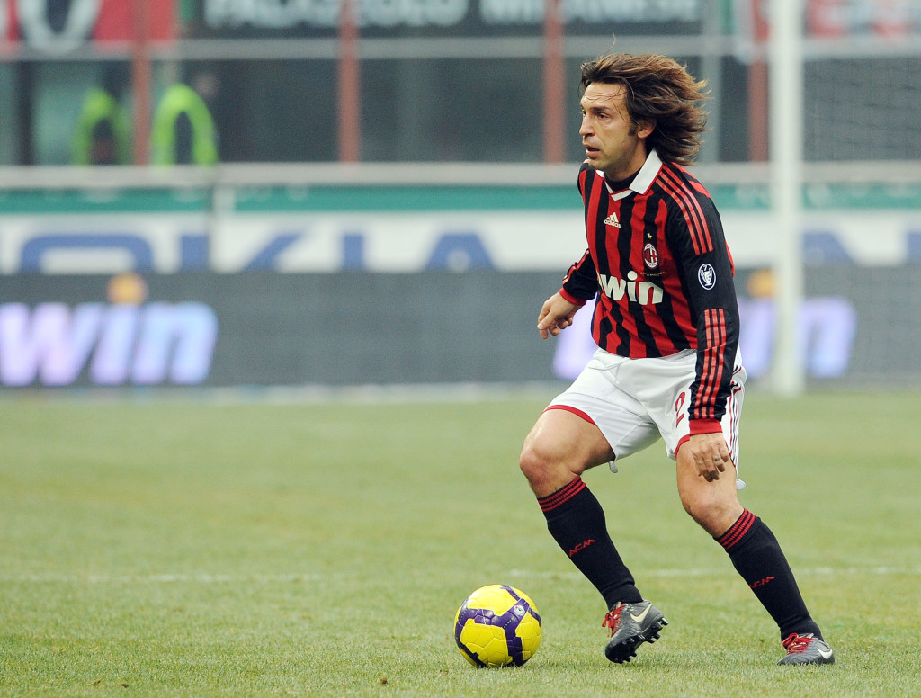 MILAN, ITALY - JANUARY 17: Andrea Pirlo of Milan in action during the Serie A match between Milan and Siena at Stadio Giuseppe Meazza on January 17, 2010 in Milan, Italy. (Photo by Giuseppe Bellini/Getty Images)