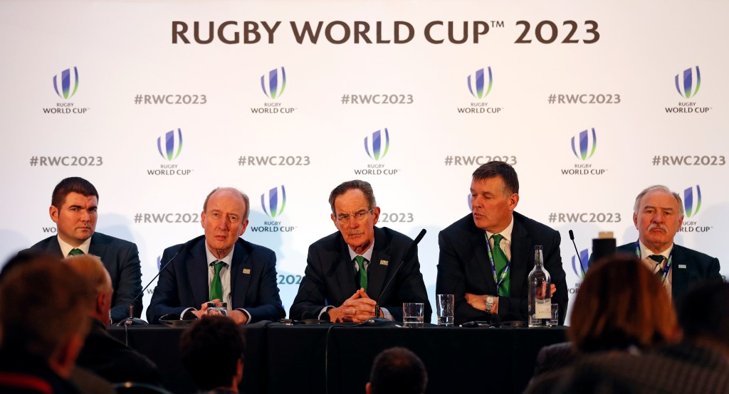 Ireland's bid team (L-R) - Ireland's Sports minister Shane Ross, Ireland 2023 Bid Chairman Dick Spring and Irish Rugby chief Philip Browne hold a press conference after France was named to host the 2023 Rugby World Cup in London on November 15, 2017. France won the right to stage the 2023 World Cup, it was announced today, despite finishing behind rival bidders South Africa in an evaluation report. / AFP PHOTO / ADRIAN DENNIS (Photo credit should read ADRIAN DENNIS/AFP/Getty Images)